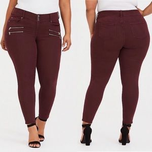 Torrid Burgundy Jegging Zipper Pockets